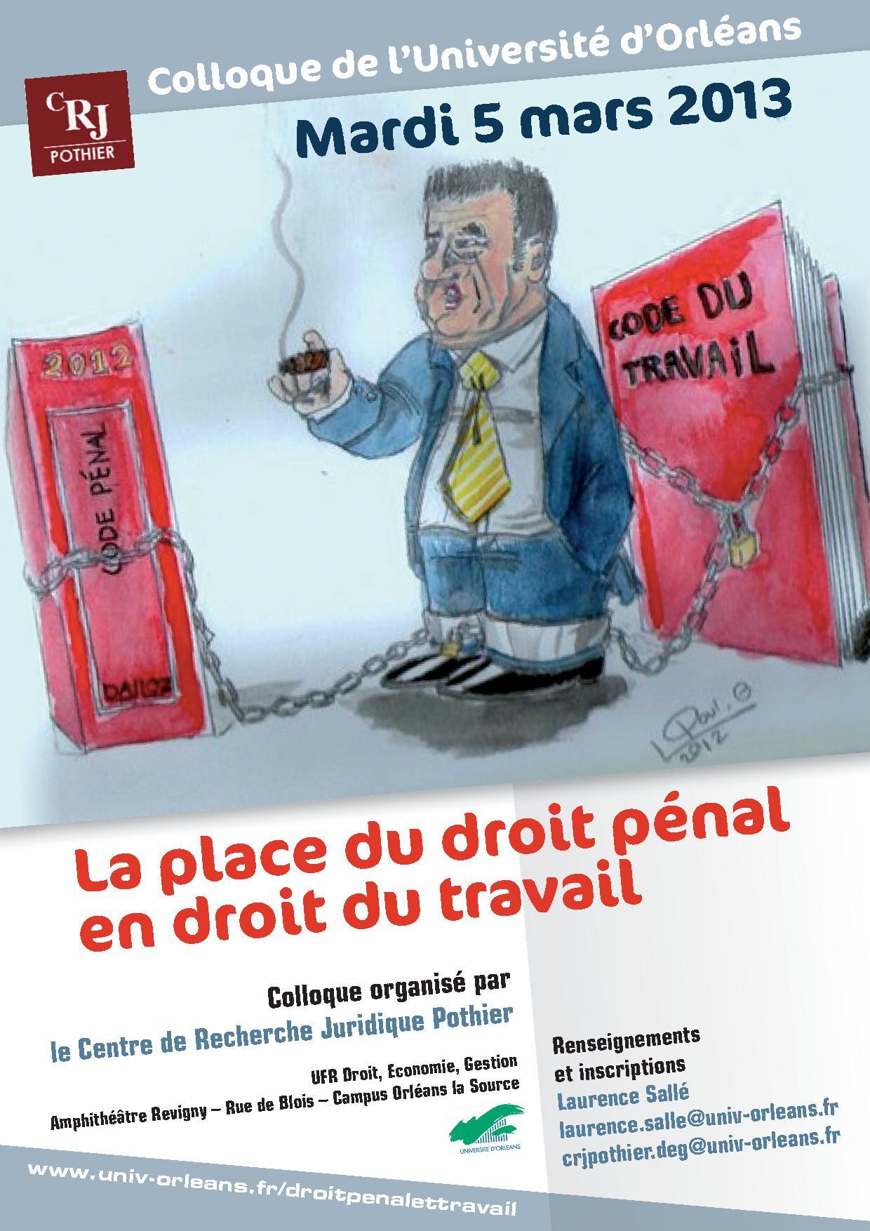 La place du droit p nal en droit du travail orl ans 5 mars 2013 sciencesc - Droit du locataire travaux ...